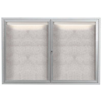 Aarco LODCC3648R 36 inch x 48 inch Silver Enclosed Aluminum Indoor / Outdoor Bulletin Board with LED Lighting