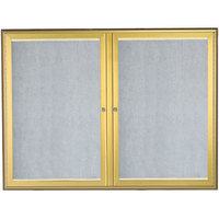 Aarco 36 inch x 48 inch Gold Enclosed Aluminum Indoor / Outdoor Bulletin Board with Waterfall Style Frame and LED Lighting