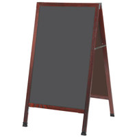 Aarco MA-1SS 42 inch x 24 inch Cherry A-Frame Sign Board with Slate Gray Write-On Porcelain Chalk Board