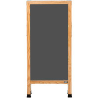 Aarco A-35SS 42 inch x 18 inch Oak A-Frame Sign Board with Slate Gray Write-On Porcelain Chalk Board