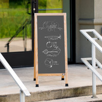 Aarco A-35SS 42 inch x 18 inch Oak A-Frame Sign Board with Slate Gray Write-On Porcelain Chalk Board