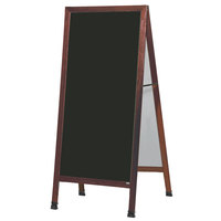 Aarco 68 inch x 30 inch Cherry A-Frame Sign Board with Black Write-On Porcelain Marker Board