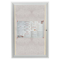 Aarco 24 inch x 18 inch Silver Enclosed Aluminum Indoor / Outdoor Bulletin Board with LED Lighting