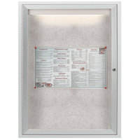 Aarco LODCC2418R 24 inch x 18 inch Silver Enclosed Aluminum Indoor / Outdoor Bulletin Board with LED Lighting