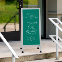 Aarco AA-311SG 42 inch x 18 inch Aluminum A-Frame Sign Board with Green Write-On Porcelain Chalk Board