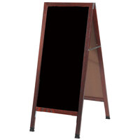 Aarco MA-3P 42 inch x 18 inch Cherry A-Frame Sign Board with Black Write-On Acrylic Marker Board