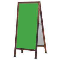 Aarco MLA1SG 68 inch x 30 inch Cherry A-Frame Sign Board with Green Write-On Porcelain Chalk Board