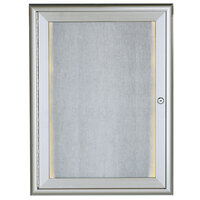 Aarco 24 inch x 18 inch Silver Enclosed Aluminum Indoor / Outdoor Bulletin Board with Waterfall Style Frame and LED Lighting