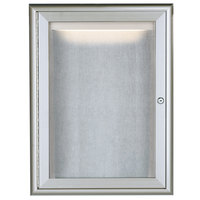 Aarco LOWFC2418 24 inch x 18 inch Silver Enclosed Aluminum Indoor / Outdoor Bulletin Board with Waterfall Style Frame and LED Lighting