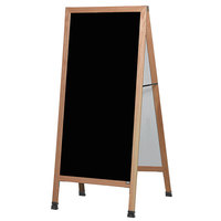 Aarco LA1P 68 inch x 30 inch Oak A-Frame Sign Board with Black Write-On Acrylic Marker Board