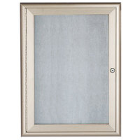Aarco 24 inch x 18 inch Silver Enclosed Aluminum Indoor / Outdoor Bulletin Board with Waterfall Style Frame
