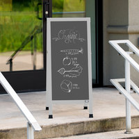 Aarco AA-35SS 42 inch x 18 inch Aluminum A-Frame Sign Board with Slate Gray Write-On Porcelain Chalk Board