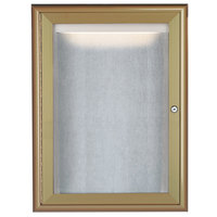 Aarco LOWFC2418LB 24 inch x 18 inch Antique Brass Enclosed Aluminum Indoor / Outdoor Bulletin Board with Waterfall Style Frame and LED Lighting