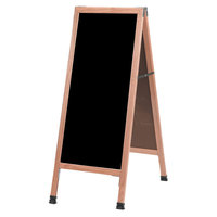 Aarco A-3P 42 inch x 18 inch Oak A-Frame Sign Board with Black Write-On Acrylic Marker Board