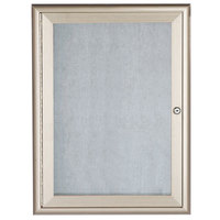 Aarco 36 inch x 24 inch Silver Enclosed Aluminum Indoor / Outdoor Bulletin Board with Waterfall Style Frame