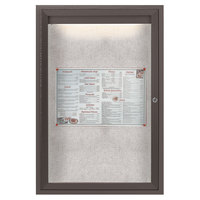 Aarco LODCC3624RBA 36 inch x 24 inch Bronze Enclosed Aluminum Indoor / Outdoor Bulletin Board with LED Lighting