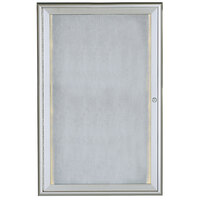Aarco 36 inch x 24 inch Silver Enclosed Aluminum Indoor / Outdoor Bulletin Board with Waterfall Style Frame and LED Lighting
