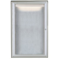 Aarco LOWFC3624 36 inch x 24 inch Silver Enclosed Aluminum Indoor / Outdoor Bulletin Board with Waterfall Style Frame and LED Lighting