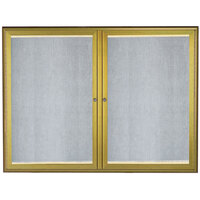 Aarco 36 inch x 48 inch Antique Brass Enclosed Aluminum Indoor / Outdoor Bulletin Board with Waterfall Style Frame and LED Lighting