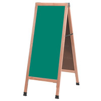 Aarco A-3G 42 inch x 18 inch Oak A-Frame Sign Board with Green Write-On Chalk Board