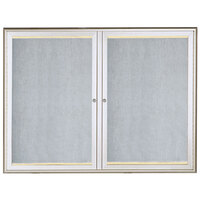 Aarco 36 inch x 48 inch Silver Enclosed Aluminum Indoor / Outdoor Bulletin Board with Waterfall Style Frame and LED Lighting