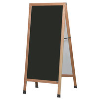 Aarco LA5SB 68 inch x 30 inch Oak A-Frame Sign Board with Black Write-On Porcelain Marker Board