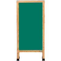 Aarco A-311SG 42 inch x 18 inch Oak A-Frame Sign Board with Green Write-On Porcelain Chalk Board