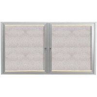 Aarco 36 inch x 60 inch Silver Enclosed Aluminum Indoor / Outdoor Bulletin Board with LED Lighting