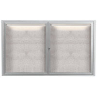 Aarco LODCC3660R 36 inch x 60 inch Silver Enclosed Aluminum Indoor / Outdoor Bulletin Board with LED Lighting