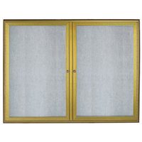Aarco OWFC3648LB 36 inch x 48 inch Antique Brass Enclosed Aluminum Indoor / Outdoor Bulletin Board with Waterfall Style Frame