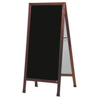 Aarco MLA11 68 inch x 30 inch Cherry A-Frame Sign Board with Black Write-On Melamine Marker Board