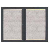 Aarco 36 inch x 48 inch Bronze Enclosed Aluminum Indoor / Outdoor Bulletin Board with LED Lighting