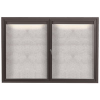 Aarco LODCC3648RBA 36 inch x 48 inch Bronze Enclosed Aluminum Indoor / Outdoor Bulletin Board with LED Lighting