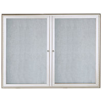 Aarco OWFC3648 36 inch x 48 inch Silver Enclosed Aluminum Indoor / Outdoor Bulletin Board with Waterfall Style Frame
