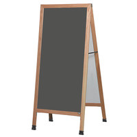 Aarco LA1SS 68 inch x 30 inch Oak A-Frame Sign Board with Slate Gray Write-On Porcelain Chalk Board