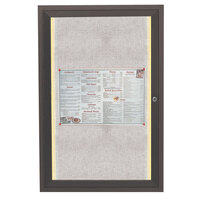 Aarco 24 inch x 18 inch Bronze Enclosed Aluminum Indoor / Outdoor Bulletin Board with LED Lighting