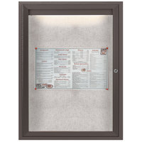 Aarco LODCC2418RBA 24 inch x 18 inch Bronze Enclosed Aluminum Indoor / Outdoor Bulletin Board with LED Lighting