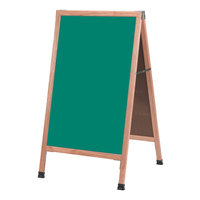 Aarco A-1SG 42 inch x 24 inch Oak A-Frame Sign Board with Green Write-On Porcelain Chalk Board