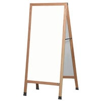 Aarco LA5 68 inch x 30 inch Oak A-Frame Sign Board with White Write-On Melamine Marker Board