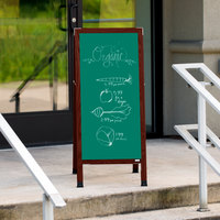 Aarco MA-311SG 42 inch x 18 inch Cherry A-Frame Sign Board with Green Write-On Porcelain Chalk Board