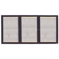 Aarco 36 inch x 72 inch Bronze Enclosed Aluminum Indoor / Outdoor Bulletin Board with LED Lighting