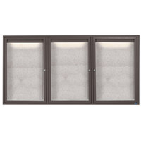 Aarco LODCC3672-3RBA 36 inch x 72 inch Bronze Enclosed Aluminum Indoor / Outdoor Bulletin Board with LED Lighting