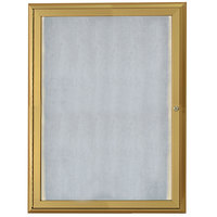 Aarco 36 inch x 24 inch Gold Enclosed Aluminum Indoor / Outdoor Bulletin Board with Waterfall Style Frame and LED Lighting