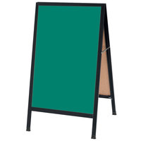 Aarco BA-1G 42 inch x 24 inch Black Aluminum A-Frame Sign Board with Green Write-On Chalk Board
