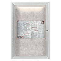 Aarco LODCC3624R 36 inch x 24 inch Silver Enclosed Aluminum Indoor / Outdoor Bulletin Board with LED Lighting