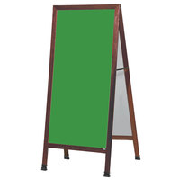 Aarco MLA1G 68 inch x 30 inch Cherry A-Frame Sign Board with Green Write-On Chalk Board