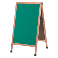 Aarco A-1G 42 inch x 24 inch Oak A-Frame Sign Board with Green Write-On Chalk Board