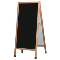 Aarco LA11 68 inch x 30 inch Oak A-Frame Sign Board with Black Write-On Melamine Marker Board