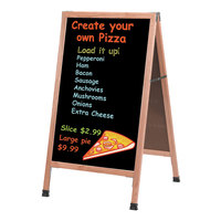 Aarco A-1P 42 inch x 24 inch Oak A-Frame Sign Board with Black Write-On Acrylic Marker Board