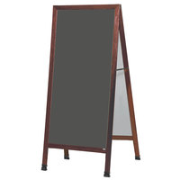Aarco MLA1SS 68 inch x 30 inch Cherry A-Frame Sign Board with Slate Gray Write-On Porcelain Chalk Board